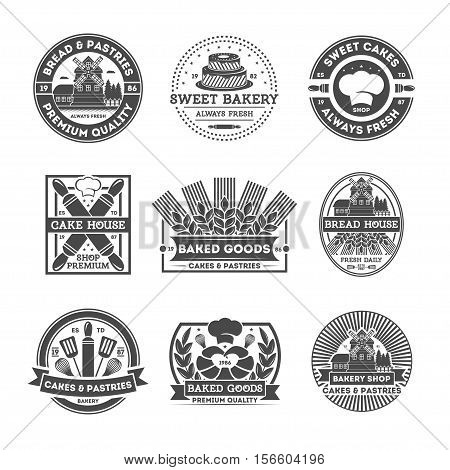 Bakery shop vintage isolated label set. Bread and cake house symbols. Sweet bakery icon. Premium quality always fresh product. Cakes and pastries logo. Baked goods. Rolling pin cook cap mill sign.