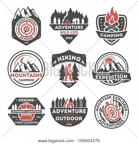 Adventure outdoor vintage isolated label vector illustration. Summer camping symbols. Mountain explorer icon. Wild life concept. Hiking logo. Mountains camping. Compass, campfire, tent, forest sign