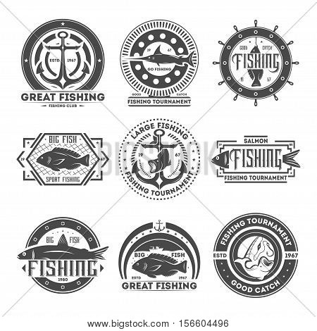 Great fishing tournament vintage isolated label vector illustration. Good catch symbol. Big fish icon. Sport fishing club logo. Salmon, anchor, rod, swordfish sign. Go fishing concept.