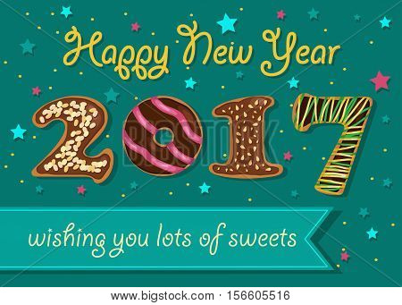 Happy New Year 2017. Wishing you lots of sweets. Chocolate donuts font. Celebration background with confetti stars. Greeting card. Blue banner for custom text. Years specific. Vector illustration.