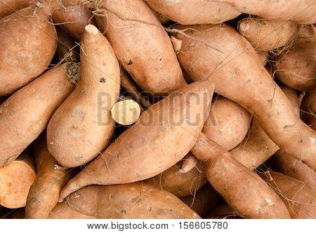 Sweet potato. Sweet potatoes background .Sweet potatoes in market