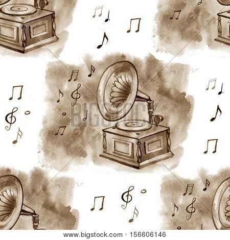 Watercolor sepia vintage gramophone and notes seamless pattern