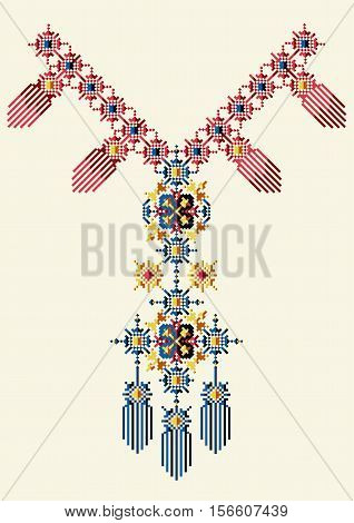 Neckline design in ethnic style for fashion. Aztec boho neck print. Vector tribal embellishment