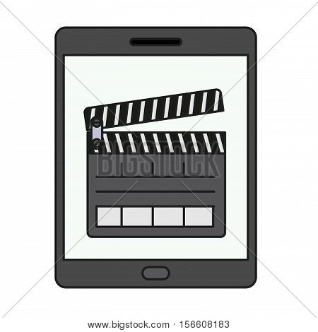 Clapboard and tablet icon. Movie film video cinema and entertainment theme. Isolated design. Vector illustration