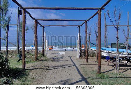 passage to the sandy beach in Sicilia, Italia
