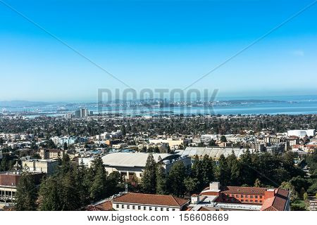 Berkeley,California,USA - October 26, 2016 : View of Berkeley and the Bay Area from the Sather Tower
