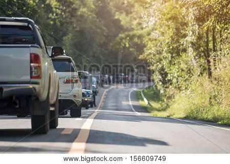traffic jam in the road in mountains during rush hour