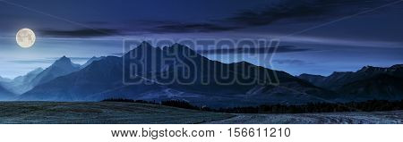 Rural Field In Tatra Mountains At Night