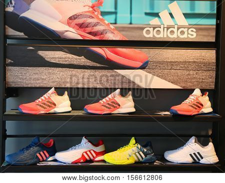 NEW YORK - AUGUST 28, 2016: Adidas presents new tennis shoes collection during US Open 2016 at Billie Jean King National Tennis Center in New York