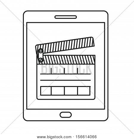 Clapboard and tablet con. Movie film video cinema and entertainment theme. Isolated design. Vector illustration