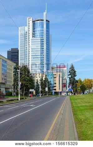 MINSK BELARUS - OCTOBER 1 2016: Business center of Royal Plaza on Pobediteley Avenue Minsk Belarus