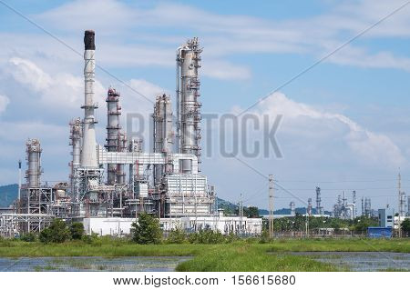 Oil Refinery factory close up, Petroleum, petrochemical plant