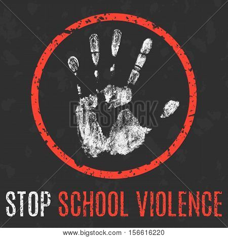 Conceptual vector illustration. Social problems of humanity. Stop school violence.