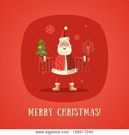 Merry Christmas! Santa Claus with Christmas tree and sparkler. Vector illustration.