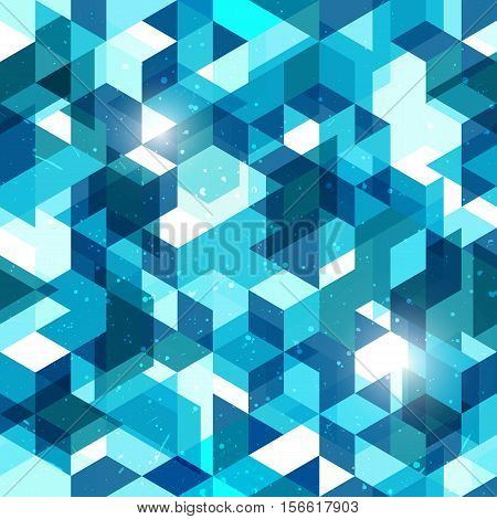 Seamless geometric background in blue. Modern abstract vector pattern. EPS10.