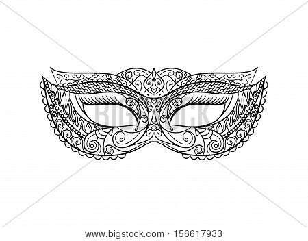 Masquerade Carnival Mask Thin Line Set Pixel Perfect Art. Material Design.. Vector illustration