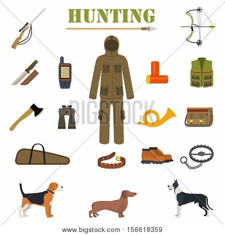 Hunting equipment kit with rifle, knife, suit, shotgun, boots, patronage etc. Hunting Dogs. Vector illustration