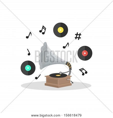 Old Gramophone and Vinyl Disc Set. Flat Design Style Vector illustration