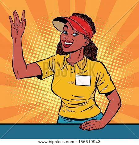 Beautiful girl restaurant worker takes the order, pop art retro vector illustration. A restaurant employee fast food. The seller is in uniform