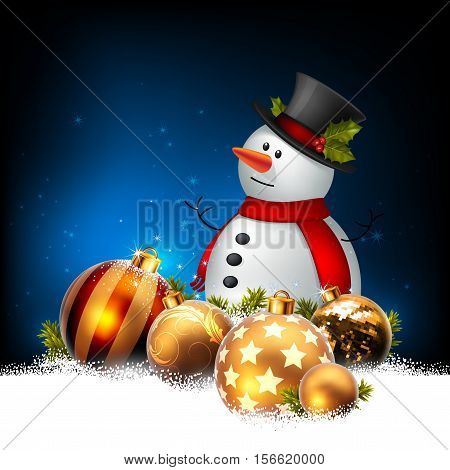 Christmas card with a snowman and golden balls