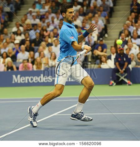 NEW YORK- SEPTEMBER 6, 2016: Twelve times Grand Slam champion Novak Djokovic of Serbia in action during his quarterfinal match at US Open 2016 at Billie Jean King National Tennis Center in New York
