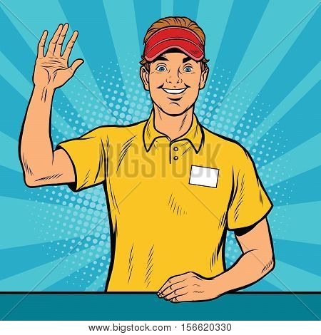 Happy fast food worker takes the order, pop art retro vector illustration. A restaurant employee fast food. The seller is in uniform