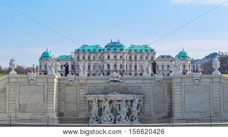 AUSTRIA, VIENNA. 25 MARCH 2010 Belveder- palace complex in Vienna Baroque.Built Lucas von Hildebrandt as summer residence for one of greatest generals of his time Prince Eugene of Savoy at beginning of XVIII century.
