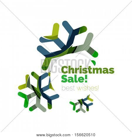 Christmas sale, greeting card or banner. New Year elements with white copyspace