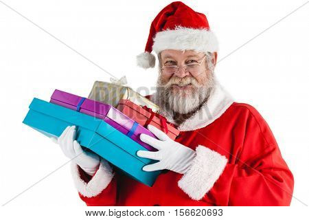 Portrait of santa claus holding a presents
