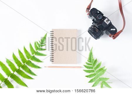 Flat lay of earth tone color notebook pencil camera and fern leaves isolated on white background with copy space