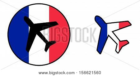 Nation Flag - Airplane Isolated - France
