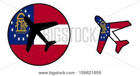 Nation Flag - Airplane Isolated - Georgia