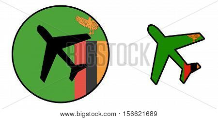 Nation Flag - Airplane Isolated - Zambia