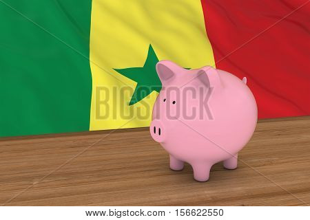 Senegal Finance Concept - Piggybank In Front Of Senegalese Flag 3D Illustration