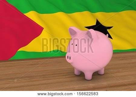 Sao Tome And Principe Finance Concept - Piggybank In Front Of Sao Tomean Flag 3D Illustration
