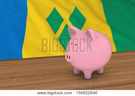 Piggybank In Front Of Saint Vincent And The Grenadines Flag 3D Illustration
