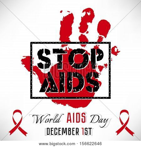 Shape of red hand and stamp Stop AIDS on white background. World AIDS day in December 1. Vector illustration