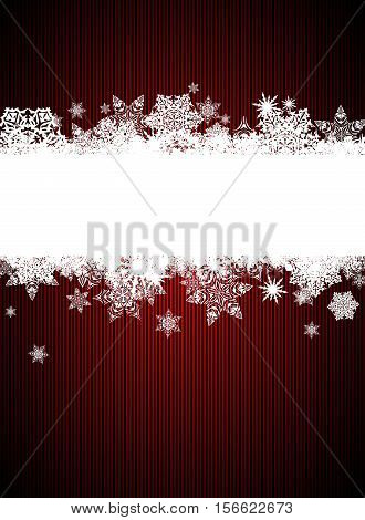Christmas red background with a white band decorated with snowflakes