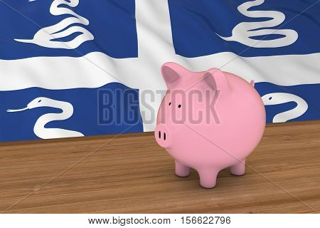 Martinique Finance Concept - Piggybank In Front Of Martinican Flag 3D Illustration