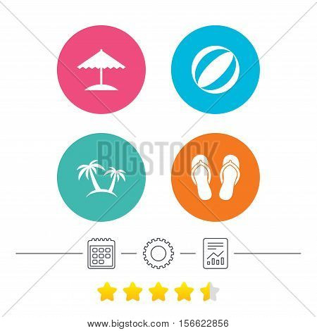 Beach holidays icons. Ball, umbrella and flip-flops sandals signs. Palm trees symbol. Calendar, cogwheel and report linear icons. Star vote ranking. Vector