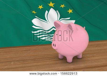 Macau Finance Concept - Piggybank In Front Of Macanese Flag 3D Illustration