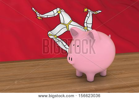 Isle Of Man Finance Concept - Piggybank In Front Of Manx Flag 3D Illustration