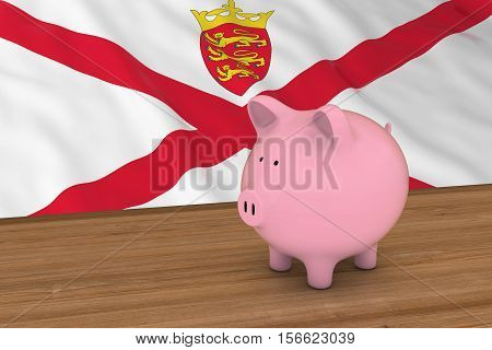 Jersey Finance Concept - Piggybank In Front Of Channel Islands Flag 3D Illustration