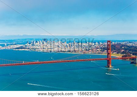Aerial View San Francisco Golden Gate Bridge High
