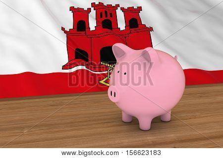 Gibraltar Finance Concept - Piggybank In Front Of Gibraltar Flag 3D Illustration