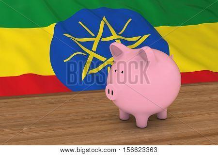 Ethiopia Finance Concept - Piggybank In Front Of Ethiopian Flag 3D Illustration