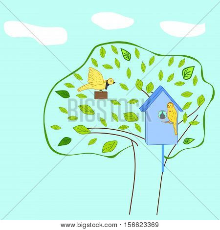 vector illustration business birdies, returning home from work