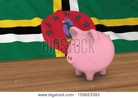 Dominica Finance Concept - Piggybank In Front Of Dominican Flag 3D Illustration