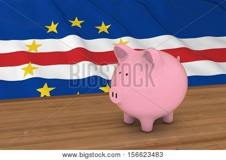 Cape Verde Finance Concept - Piggybank In Front Of Cabo Verde Flag 3D Illustration