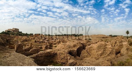 Panorama of partially restored Babylon ruins and Former Saddam Hussein Palace Babylon Hillah Iraq